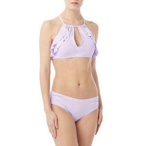 NWT$108 CARMEN MARC VALVO lavender ruffle bikini S